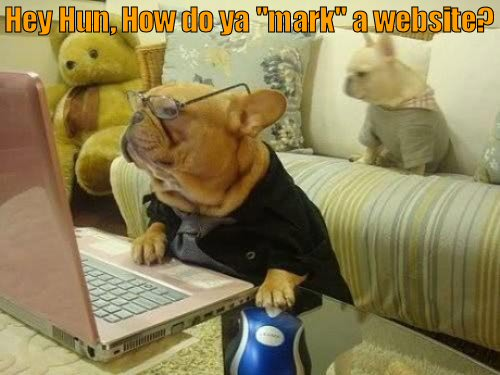 "dog trying to ""mark"" a website"